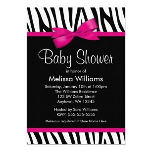 Zebra print baby shower invitations zazzle zebra hot pink printed bow baby shower invitation filmwisefo
