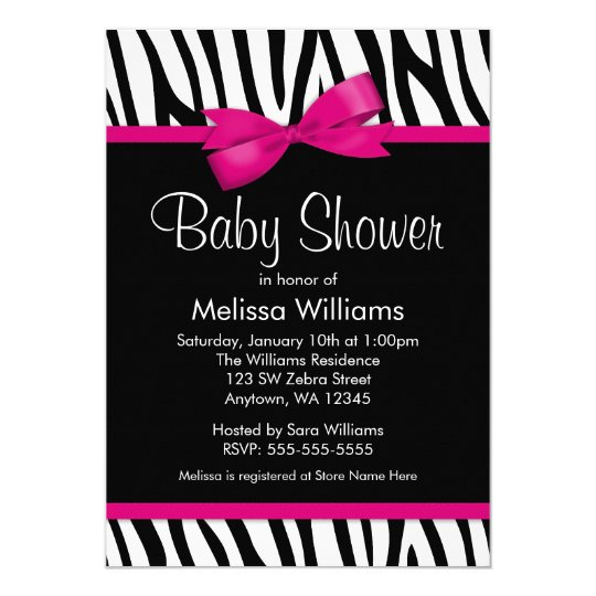 Zebra hot pink printed bow baby shower invitation zazzle zebra hot pink printed bow baby shower invitation filmwisefo