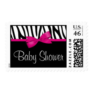 Zebra Hot Pink Printed Bow Baby Shower Postage Stamp