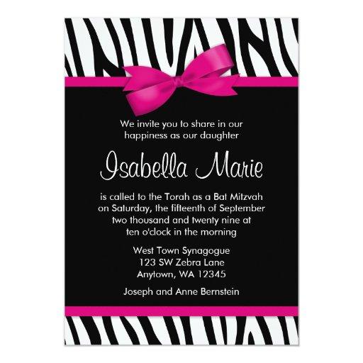 Zebra Hot Pink Printed Bow Bat Mitzvah Invitations