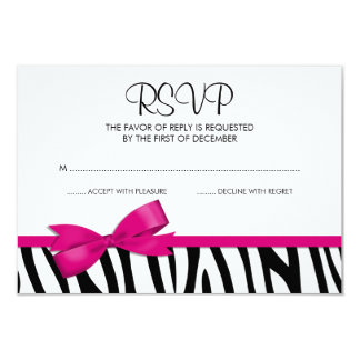 "Zebra Hot Pink Printed Bow RSVP 3.5"" X 5"" Invitation Card"