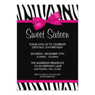 Zebra Hot Pink Printed Bow Sweet 16 Birthday Party 5x7 Paper Invitation Card