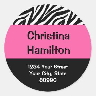 Zebra & Hot Pink return address (#LABL 008) Classic Round Sticker