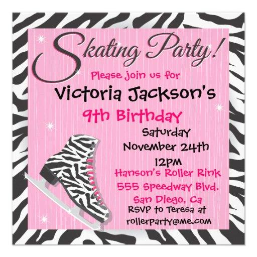 Zebra Ice Skating Party Invitations