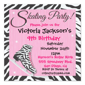 Zebra Ice Skating Party Invitations