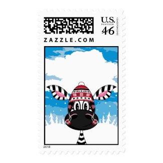 Zebra in Bobble Hat Stamp stamp