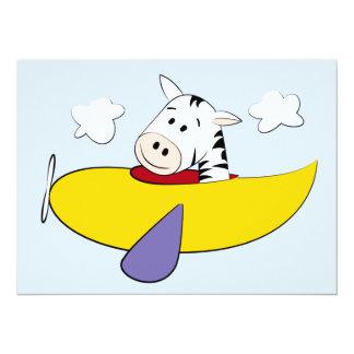 Zebra in Colorful Airplane Kids 5.5x7.5 Paper Invitation Card
