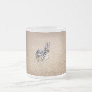Zebra in high grass 10 oz frosted glass coffee mug
