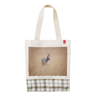 Zebra in high grass zazzle HEART tote bag