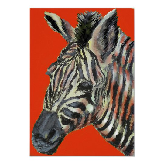 zebra in red -  poster