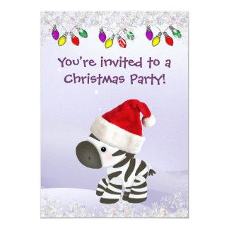 Zebra in Santa Hat, Snow & Christmas Lights Invite