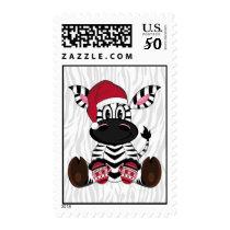 Zebra in Santa Hat Stamp