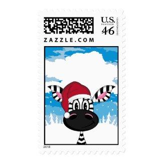 Zebra in Santa Hat Stamp stamp