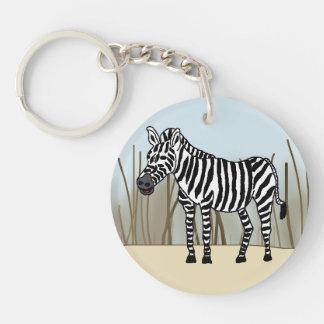 Zebra in the Savanna Keychain