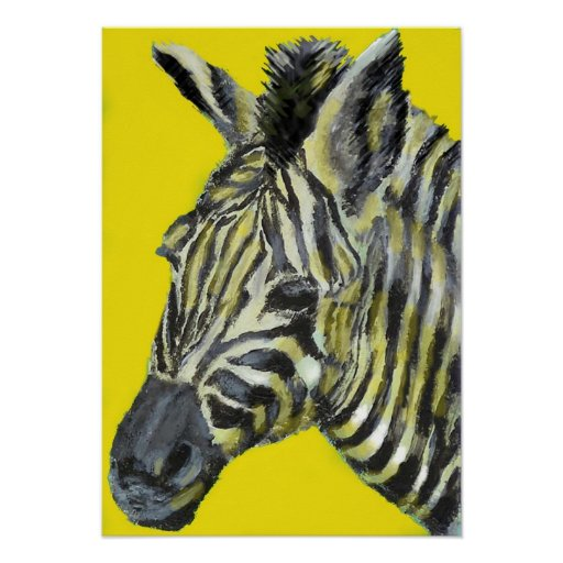 zebra in yellow poster