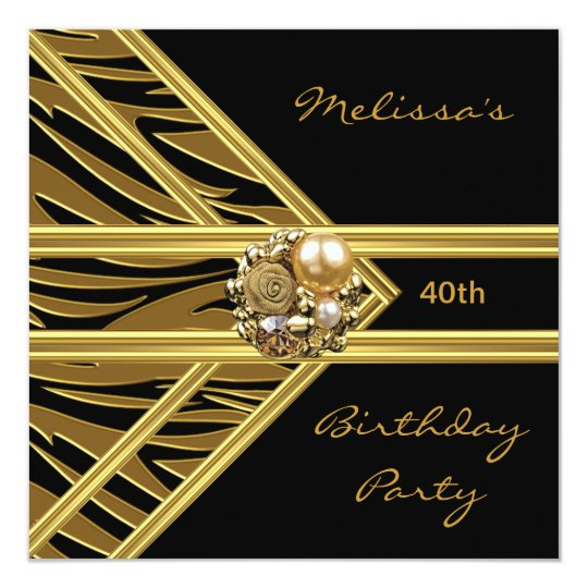 Zebra Invitation Elegant Black Velvet gold jewel