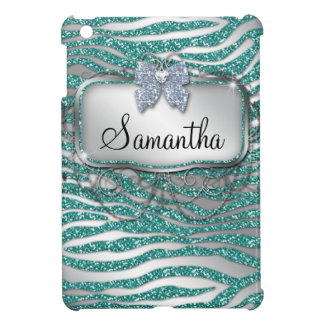 Zebra iPad Case Cover Glitter Bling Cute Monogram
