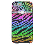 Zebra iPhone 6 Tough Rainbow Glitter B Tough iPhone 6 Case