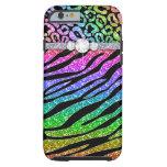 Zebra iPhone 6 Tough Rainbow Glitter B iPhone 6 Case