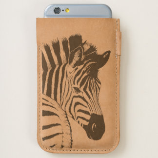 zebra iPhone 7 / iPhone 6 leather pouch