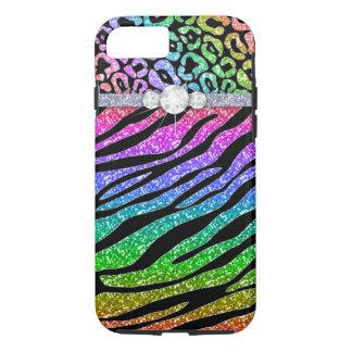 Zebra iPhone 7 Tough Rainbow Glitter B iPhone 8/7 Case