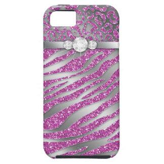 Zebra iPhone Case Mate Tough Jewelry Glitter Pink