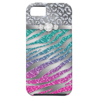 Zebra iPhone Case Mate Tough Jewelry Glitter Pink iPhone 5 Case