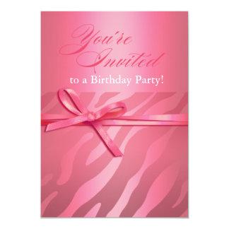 Zebra Jacquard pink on pink Birthday Party Card