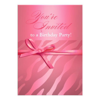 Zebra Jacquard pink on pink Birthday Party Invites