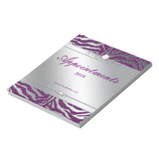 Zebra Jewelry Sparkle Notepad Purple Silver