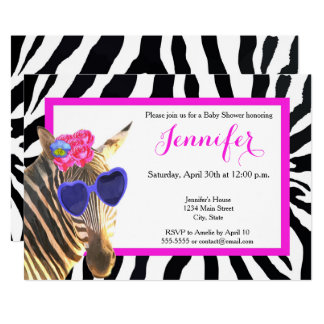 Zebra jungle animal fashion glamour baby shower card