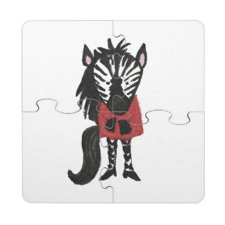Zebra Jungle Friends Baby Animal Water Color Puzzle Coaster