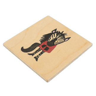 Zebra Jungle Friends Baby Animal Water Color Wooden Coaster