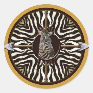 Zebra kaleidoscope classic round sticker
