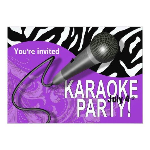 Zebra Karaoke Girls' Night Out Party 5x7 Paper Invitation Card