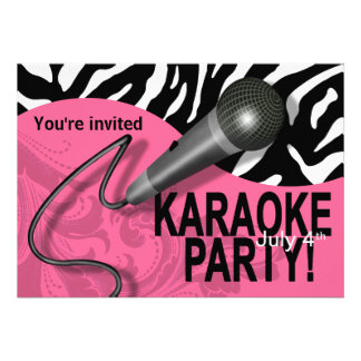 Zebra Karaoke Girls' Night Out Party Custom Announcement
