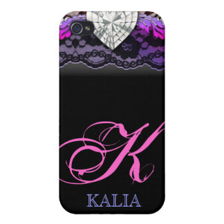 Zebra Lace Heart iPhone 4 Cover pink purple