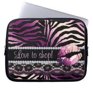 Zebra Lace Lips Print laptop sleeve Purple