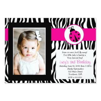 Zebra Lady Bug Party Birthday Invitation