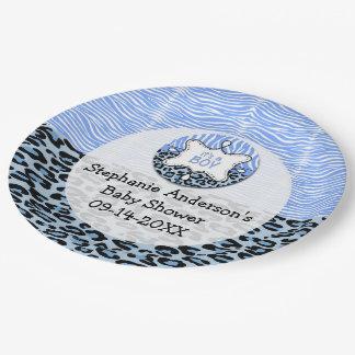 Zebra,Leopard Boy Baby Shower Paper Party Plates