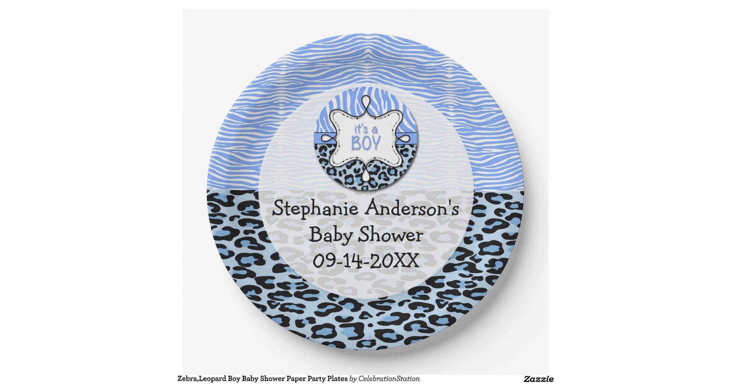 zebra leopard boy baby shower paper party plates 9 inch paper plate