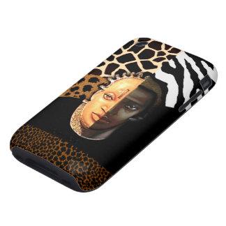 Zebra Leopard Giraffe African Mask Safari collage iPhone 3 Tough Covers