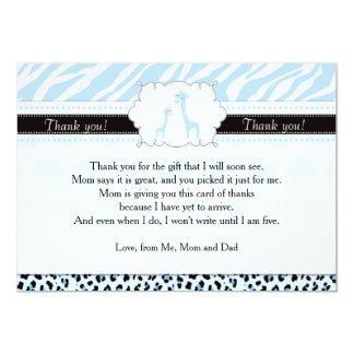 Zebra Leopard Giraffe Baby Shower Thank You Card