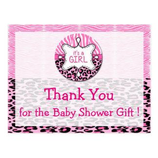 Zebra,Leopard Girl Baby Shower Thank You Postcards