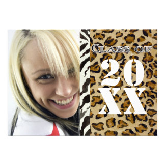 Zebra Leopard Print Graduation Announcement