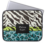 Zebra Leopard Print, Personalized Computer Sleeve
