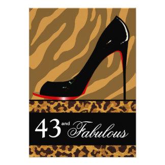 Zebra Leopard Stiletto 43rd Birthday Safari Party Personalized Invite