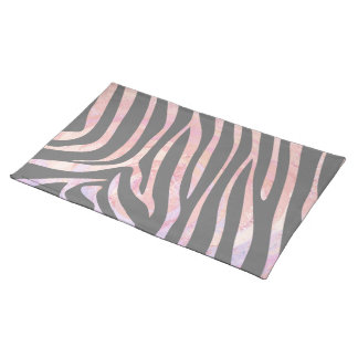 Zebra Light Gray and Pink Print Cloth Placemat