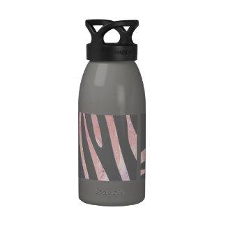 Zebra Light Gray and Pink Print Drinking Bottles