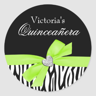 Zebra Lime Green Bow Diamond Quinceanera Classic Round Sticker